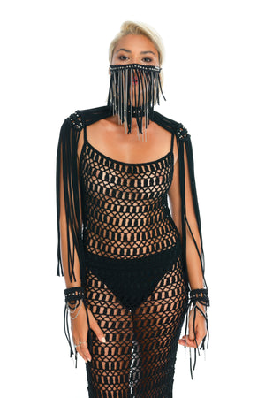 Sexy gender-neutral burning man costumes, hand-crafted festival face mask, epaulettes, crochet dress
