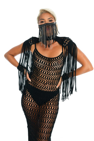 black gender-neutral festival outfit, hand-crafted festival face mask, crochet dress, macrame epaulettes, wrist cuffs