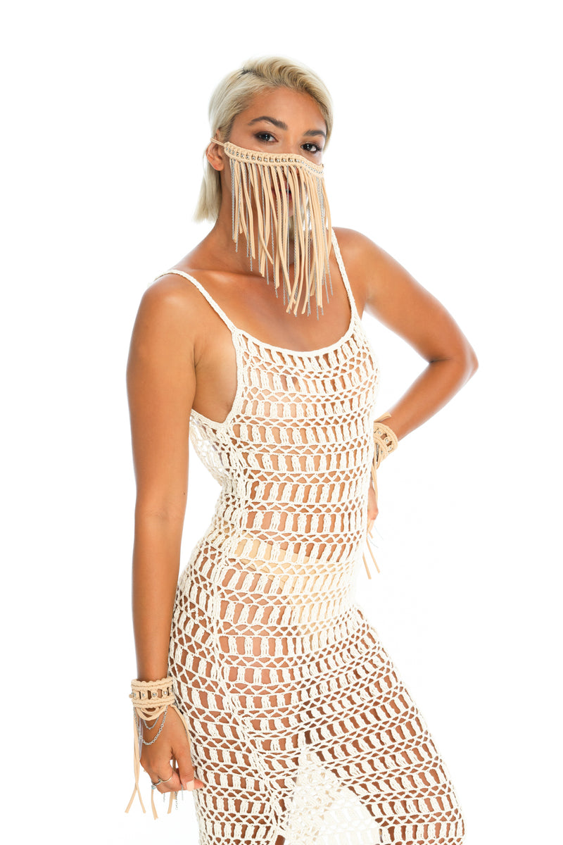 hand-crafted festival face mask, crochet dress, wrist cuffs, Tan music festival outfit