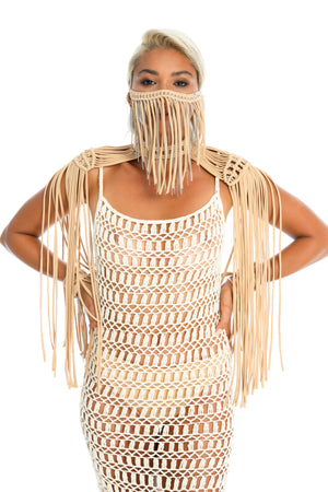 Tan macrame face mask, unique chain body jewellery. hand-crafted crochet dress, burning man costume