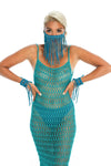Teal festival outfit, hand-crafted festival face mask, crochet dress, macrame wrist cuffs