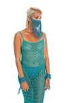 Teal macrame face mask, unique chain body jewellery. hand-crafted crochet dress, gender-neutral burning man costumes