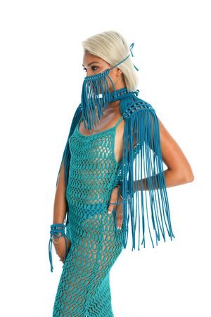 hand-crafted festival face mask, epaulettes, crochet dress, sexy gender-neutral burning man costumes