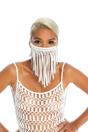 sustainable handmade festival face mask in white, boho dust mask, burning man costume