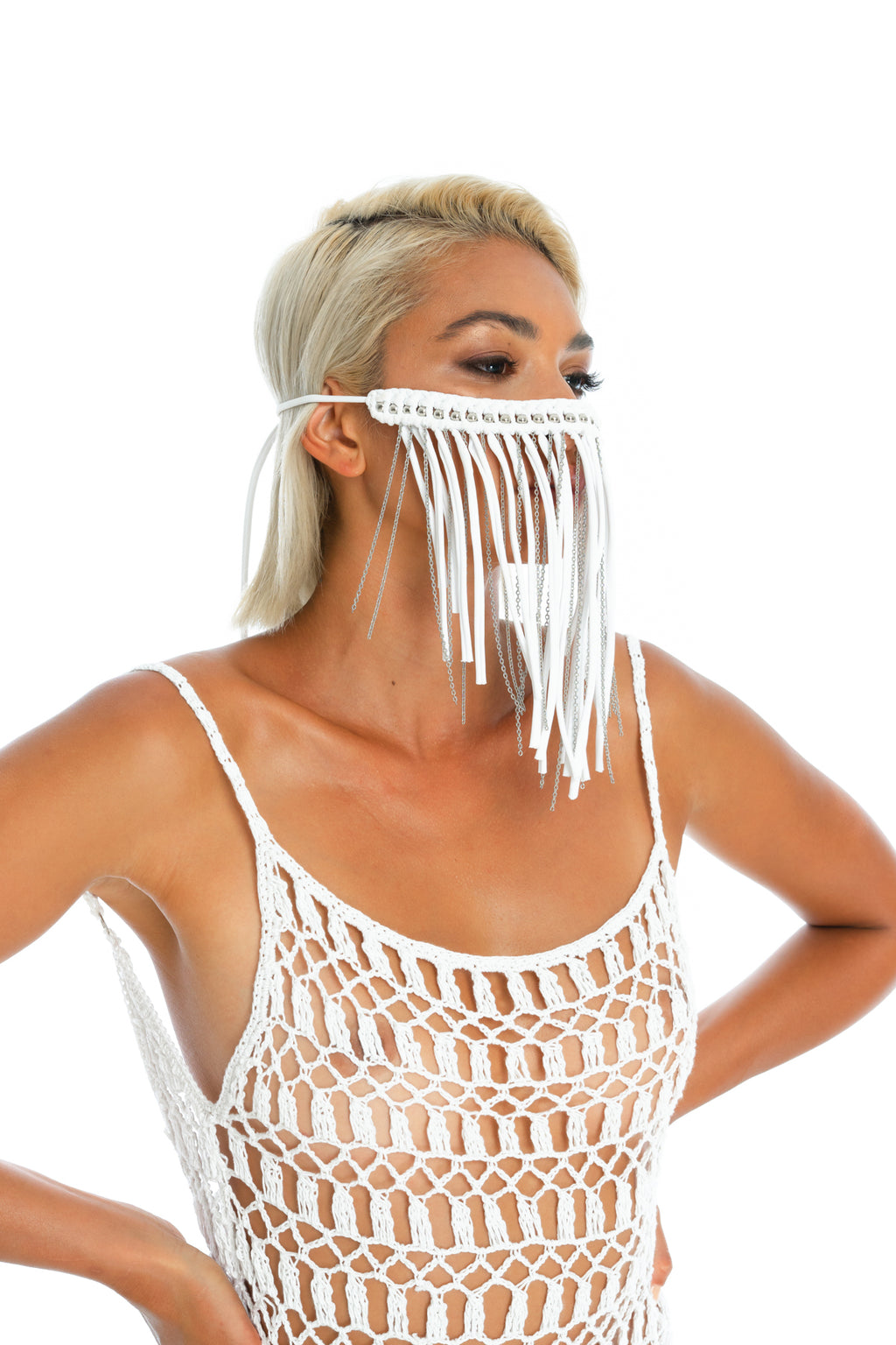 Face mask, unique macrame and chain body jewellery. white burning man accessory
