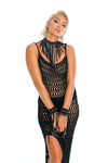 sexy black festival outfit, hand-crafted festival necklace, crochet dress, macrame wrist cuffs, bikini bottoms