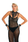 black gender-neutral burning man costumes, hand-crafted festival necklace, crochet dress, wrist cuffs