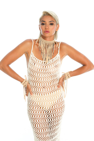 Sustainable hand-crafted tan macrame necklace, boho burning man accessories