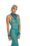 hand-crafted festival necklace, crochet dress, wrist cuffs, teal burning man costume