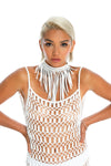 handmade macrame body jewellery- white sustainable neck piece