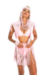 Baby pink boho macrame goddess top, burning man top, skirt and headpiece
