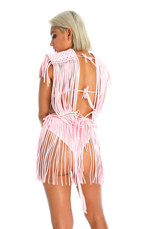 baby pink macrame outfit, top and skirt, music festival outfit