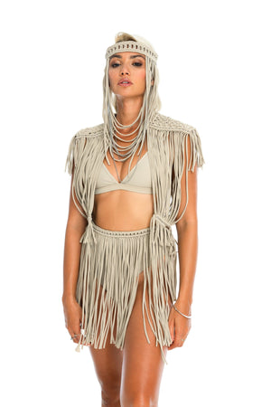 Nude festival outfit, macrame headpiece, top and fringe skirt