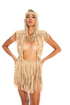 Tan festival macrame fringe skirt, boho coachella and glastionbury festival fashion