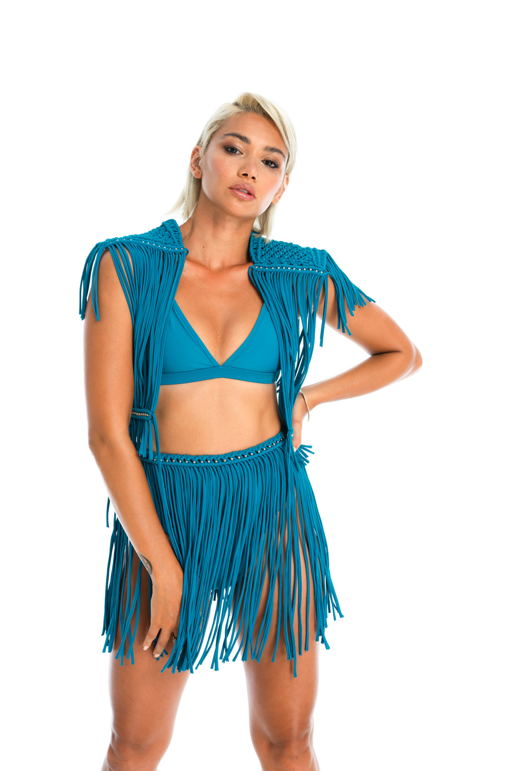 Teal festival macrame fringe skirt, sustainable burning man and rave wear