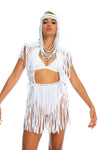 White edm rave festival mini skirt, sustainable handmade macrame fringe skirt