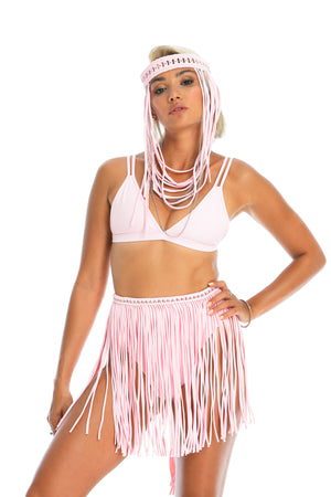 baby pink hand-crafted macrame fringe skirt. festival fashion