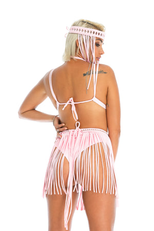 pretty baby pink adjustable fringe skirt, burning man outfit