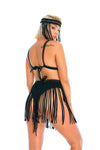 black festival macrame fringe skirt, burning man and edm rave mini skirt, headpiece