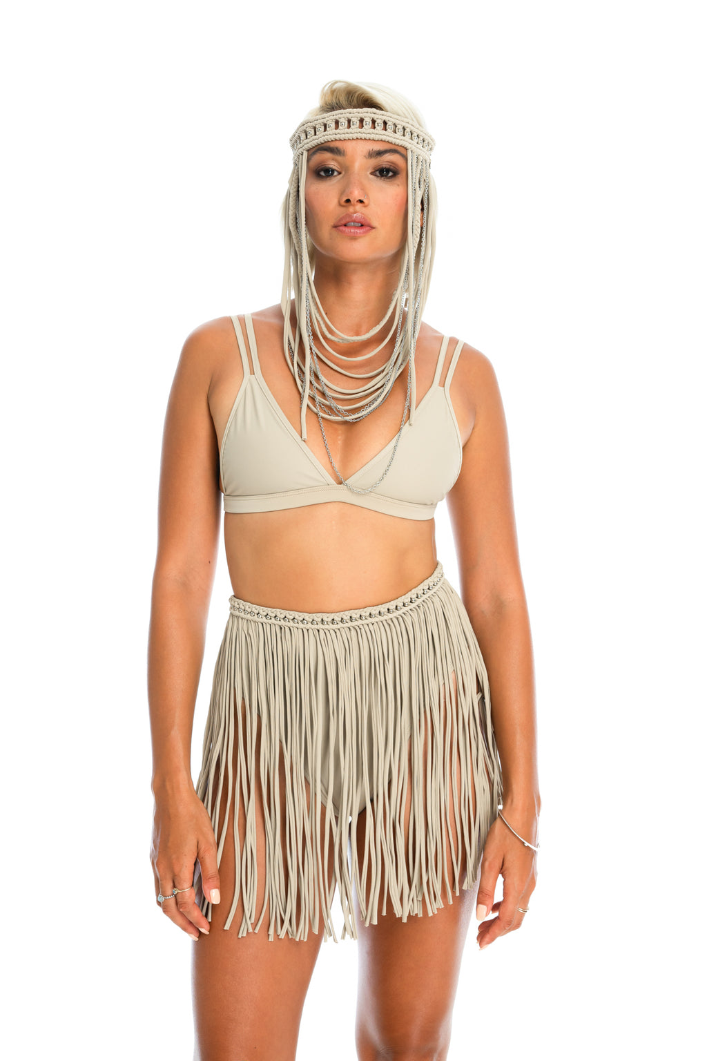 Nude hand-crafted macrame fringe skirt, burning man skirt