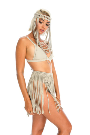 Nude handmade macrame tassel skirt,  sustainable burning man costume