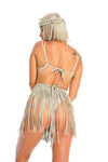 Nude festival macrame fringe skirt, adjustable sexy mini skirt & headpiece, sustainable burning man festival clothing