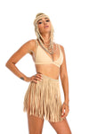 tan hand-crafted macrame fringe skirt,  unique sustainable festival clothing
