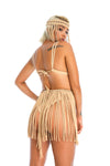 Sustainable Tan handmade macrame tassel skirt, adjustable boho burning man skirt