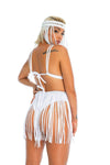 white macrame fringe skirt, sustainable festival clothing for women