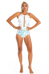 Iridescent sequin bodysuit, adjustable halter cheeky cut festival and rave bodysuit