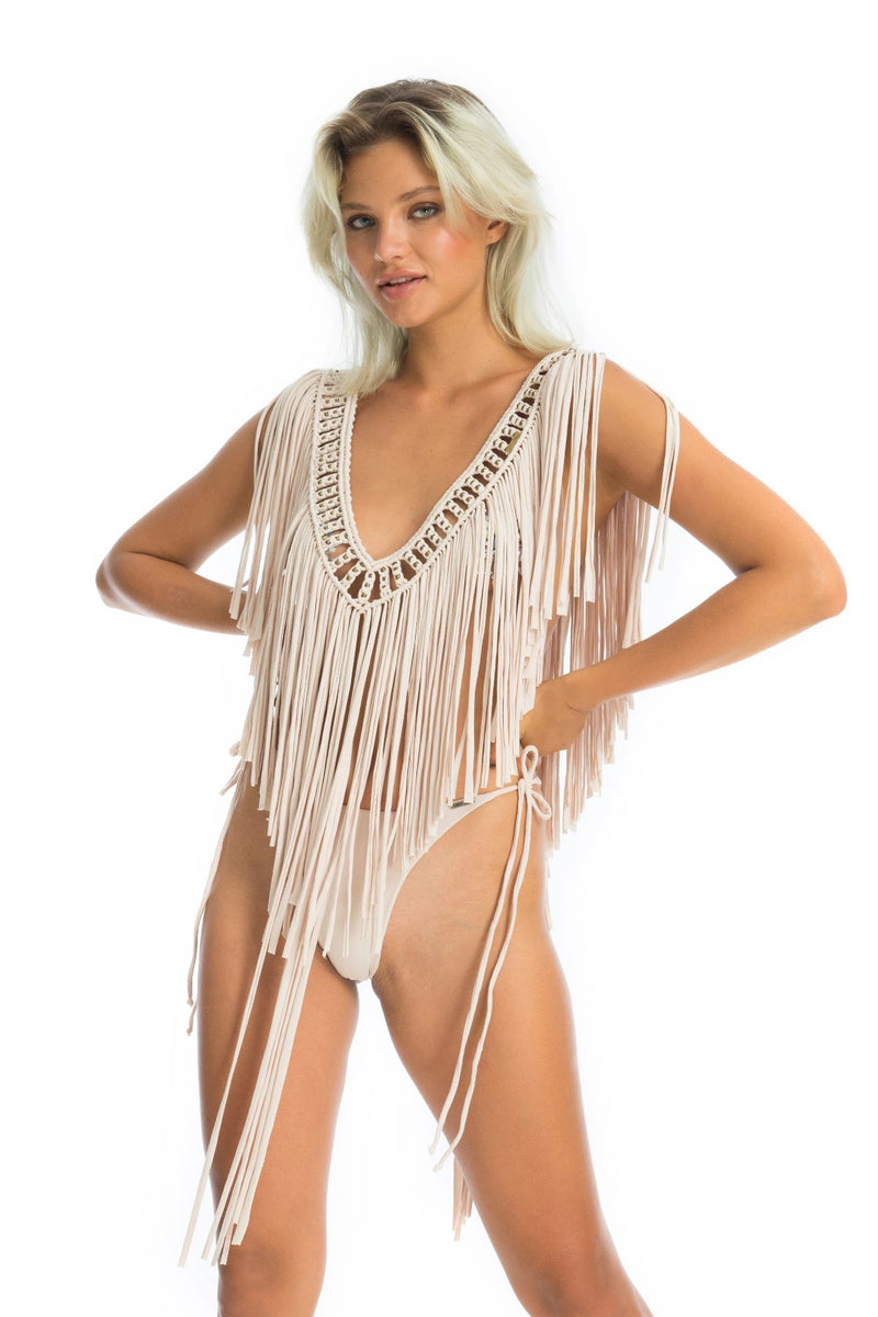 funky fun fringe gypsy top, revealing edm rave outfit | Ladee Taha