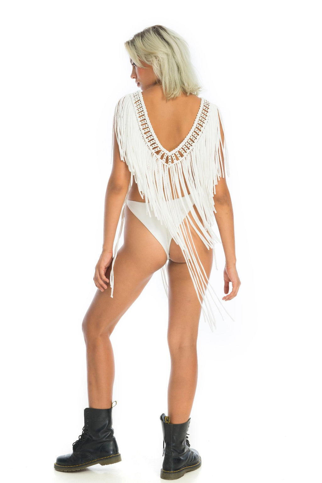 v neck macramé rave top, comfy unique music festival costume | Ladee Taha