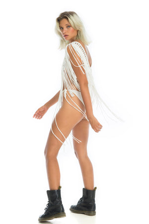 sexy boho burning man costume, macramé tassel rave top | Ladee Taha