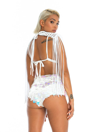 sexy sequin festival top + shorts, burning man hot pants in white moon sparkles paired with macrame epaulettes