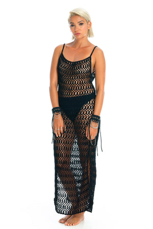 MELLA CROCHET DRESS | Black