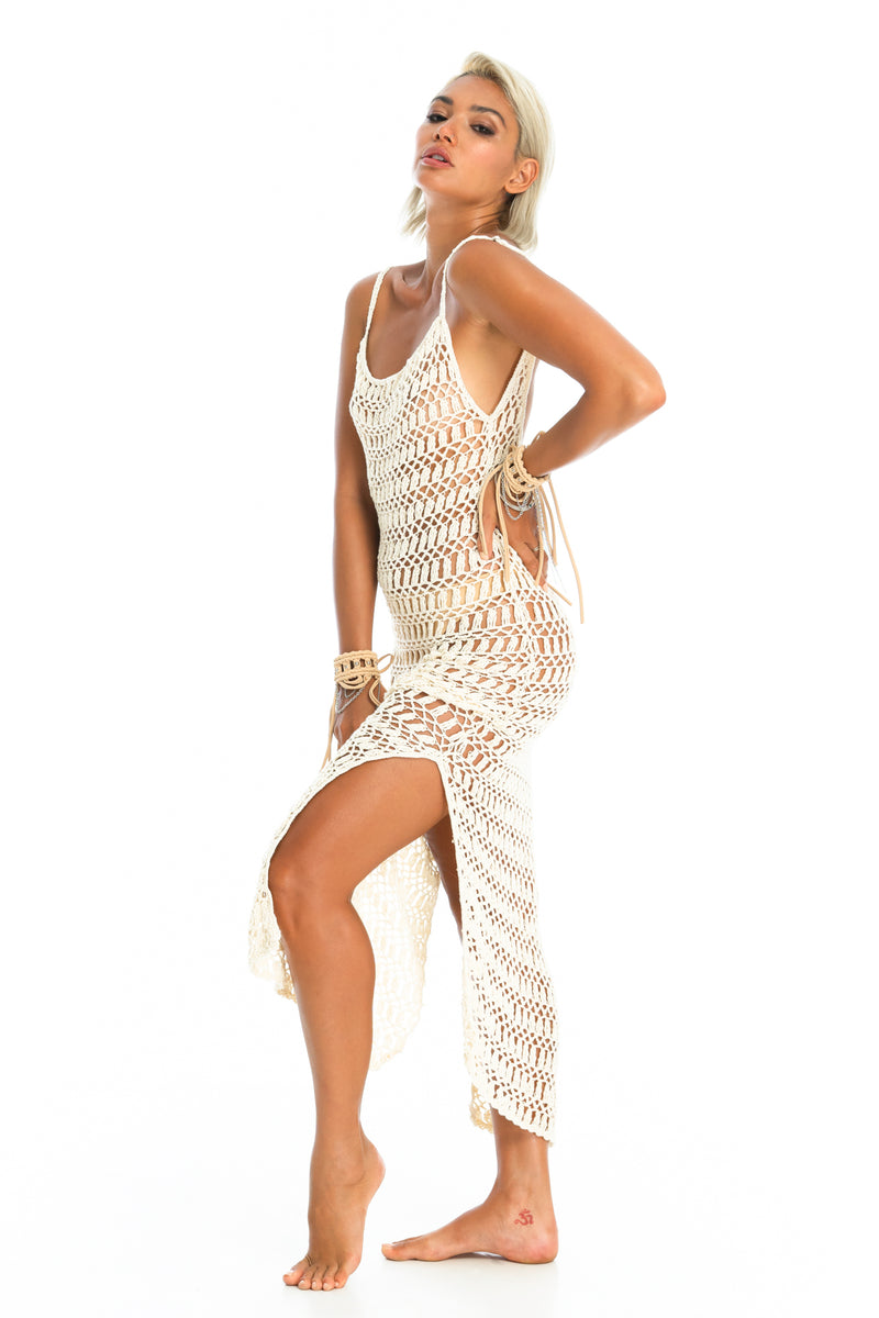MELLA CROCHET DRESS | Cream