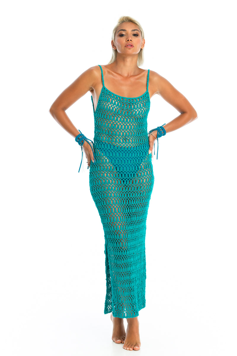 MELLA CROCHET DRESS | Teal