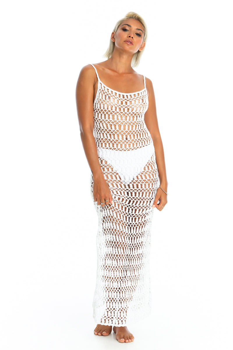 MELLA CROCHET DRESS | White