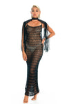 Black macrame epaulettes and crochet party dress
