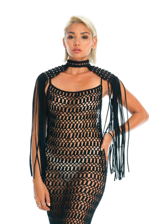 Unique festival epaulettes top, Burning Man body jewellery & crochet dress