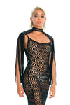 Black macrame epaulettes, Coachella music festival flowy fringe shoulder top + crochet dress