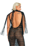 Black festival epaulettes shoulder top, Coachella music festival boho flowy fringe body jewellery