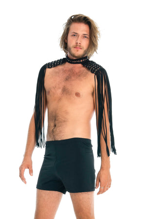 Festival epaulettes, unisex gender neutral body jewellery, mens black shorts