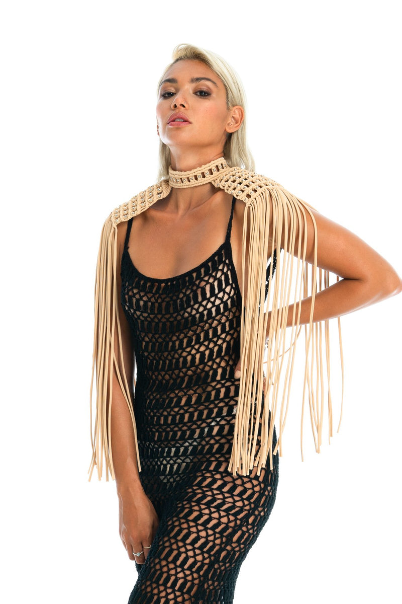 Tan boho festival epaulettes, sexy burning man costume top & crochet dress