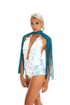 Teal boho festival epaulettes, stylish burning man costume sequin bodysuit