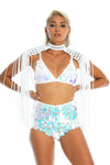 white unique epaulettes, shoulder jewellery made from recycled fabric. sequin top and shorts