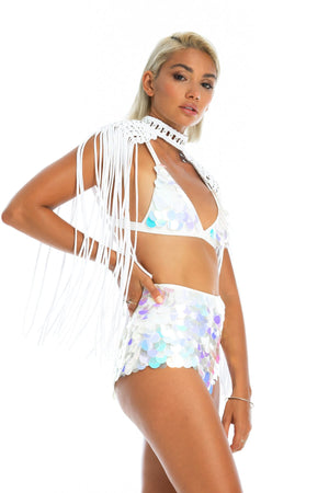 burning man epaulettes top, white music festival macrame top, sequin top and shorts
