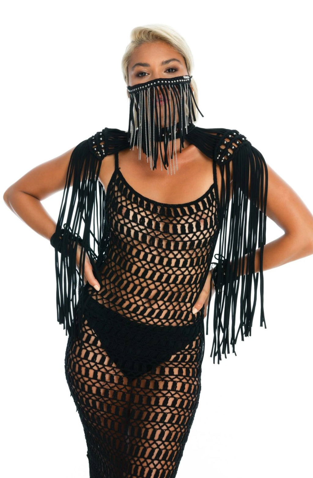 black macrame festival epaulettes shoulder top, paired with face mask and sexy crochet dress