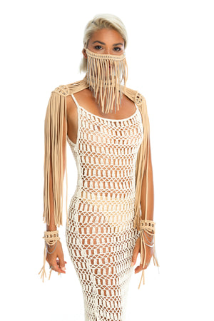 Unique festival epaulettes top, Burning Man body jewellery, coachella flowy fringe shoulder top + crochet dress