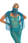 Festival epaulettes top, face mask body jewellery, crochet dress
